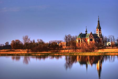 This is an old gothic church in Melgiew Town, Poland.