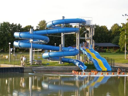 avocation: This is a view of chute to the swimming pool by the lagoon. Stock Photo