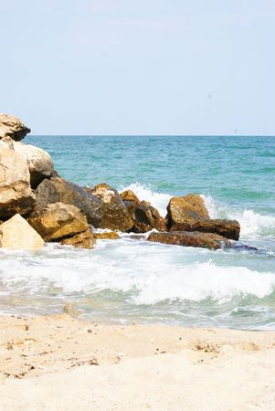This is a view of coast of Black Sea in Bulgaria.