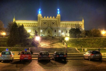 This is a view of nightscene of Lublin City, Poland.