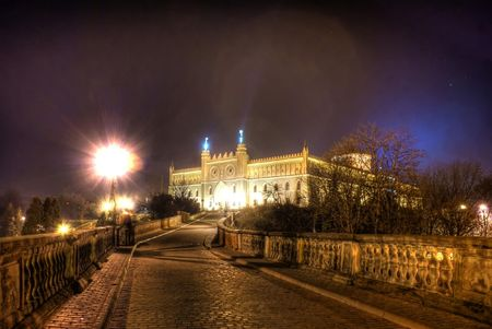 lublin: This is a view of nightscene of Lublin City, Poland.