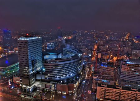 warszawa: This is a view of Warsaw, the capital city of Poland.