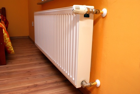 This is a view of radiator on the wall
