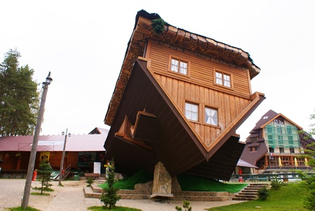 This is a famous house on the roof in Szymbark, Poland Editorial