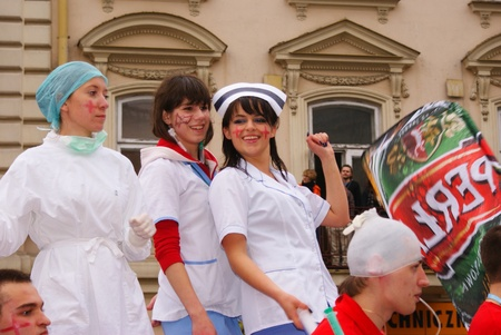 This is a view of students having fun during their holiday named Juwenalia. First day of Juwenalia is a pageant when the students have to wear costume and go main street in the city. Lublin, 06.05.2010