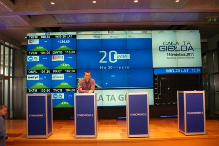 Open day on the Warsaw Stock Exchange - the school of exchange made because of twenty years of GPW existence. 16 april 2011 Stock Photo - 11952393