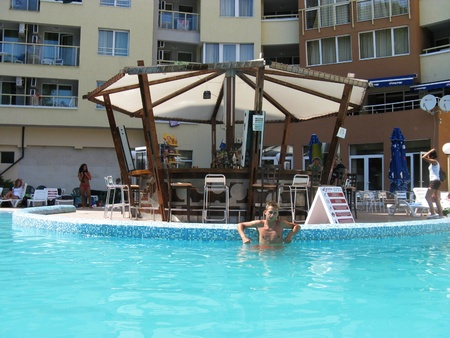 This is a view of party at swimming pool in hotel Nikea Park in Golden Sands, Bulgaria. Event takes place 13.08.2009