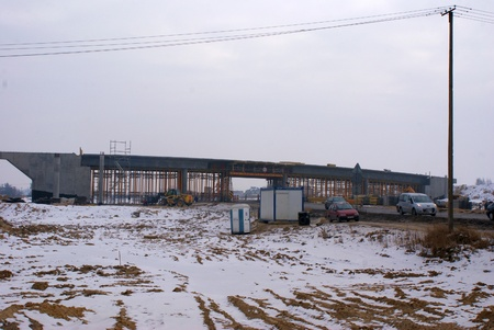 Place of road S17 building from Piaski to Lublin, Poland. 14 February 2012