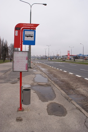 This is a view of bus stop in Lublin, Poland. Picture taken 5 April 2012 Stock Photo - 13062276
