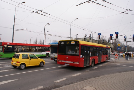 This is a view of bus stop in Lublin, Poland. Picture taken 5 April 2012 Stock Photo - 13062263