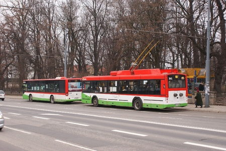 This is a view of bus stop in Lublin, Poland. Picture taken 5 April 2012 Stock Photo - 13062290