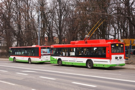 This is a view of bus stop in Lublin, Poland. Picture taken 5 April 2012