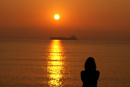 This is a view of sunrise over the Black Sea, Bulgaria