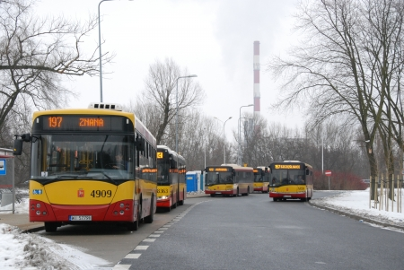 Warsaw, Poland - February 17, 2013 - Buses on the bus stop Stock Photo - 18114783