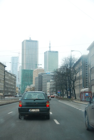Warsaw city, Poland - 16 February, 2013 - Traffic in Warsaw Stock Photo - 18114731