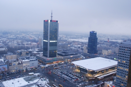 Warsaw City, Poland - February 16, 2013 - Skyscrapers in Warsaw Stock Photo - 18114749