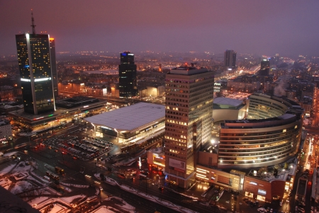 This is a view of skyscrapers in Warsaw, Poland. February 16, 2013
