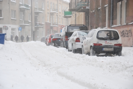 lublin: Lublin City, Poland - March 15, 2013 - Winter attack in Lublin in March