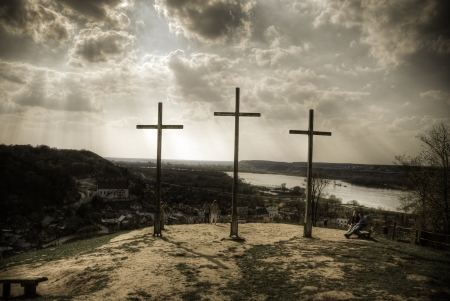 kazimierz: This is a view of Three Crosses Mount in Kazimierz Dolny, Poland Editorial