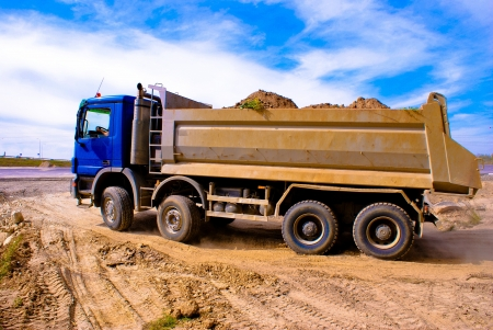 This is a view of truck on the highway building place Stock Photo