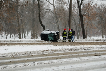 Car accident on the Pilsudkiego and Zygmuntowskie crossing  January 27, 2014  Lublin, Poland  Editorial