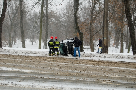 Car accident on the Pilsudkiego and Zygmuntowskie crossing  January 27, 2014  Lublin, Poland