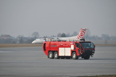 lublin: Lublin Airport s fire-truck view  February 28, 2014  Lublin Airport in Swidnik, Poland