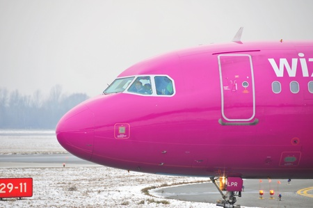 This is a view of Wizzair aircraft Airbus A320 registered as HA-LPR. December 31, 2014. Warsaw Chopin Airport in Warsaw, Poland