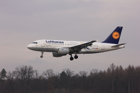 luft: This is a view of Lufthansa plane Airbus A319-114 registered as D-AILU on the Lublin Airport. January 15, 2015. Lublin Airport in Swidnik, Poland.