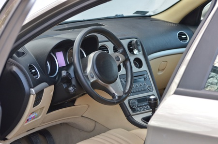 gearstick: This is a view of luxury car Alfa Romeo 159 interior details. February 28, 2015. Lublin, Poland.