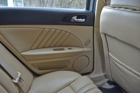 alfa: This is a view of luxury car Alfa Romeo 159 interior details. February 28, 2015. Lublin, Poland.