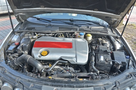 alfa: This is a view of italian car Alfa Romeo 159 1.9 JTDm engine view. February 28, 2015. Lublin, Poland