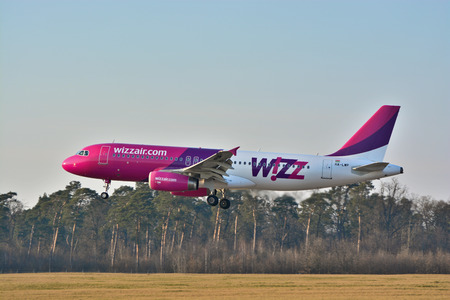 jetplane: This is a view of Wizzair plane Airbus A320-232(WL) registered as HA-LWP on the Lublin Airport. March 20, 2015. Lublin Airport in Swidnik, Poland.