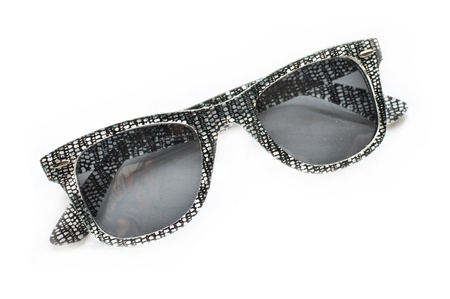 an eyepiece: This is a view of sunglasses on white background. Stock Photo