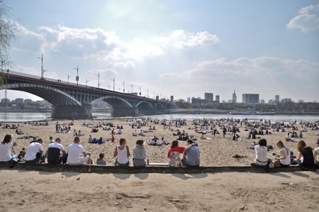 Polonia: This is a view of beach by the Wisla River in Warsaw during the first day of new season. April 11, 2015. Beach in Warsaw, Poland.