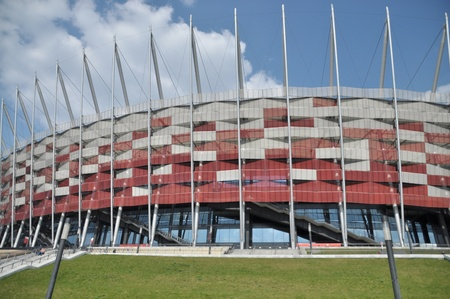 This is a view of National Stadium in Warsaw, capital city of Poland. April 11, 2015. Warsaw, Poland.