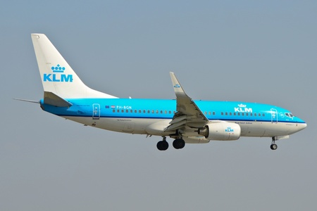 warsaw chopin: This is a view of KLM plane Boeing 737-700 registered as PH-BGN on the Warsaw Chopin Airport. April 11, 2015. Warsaw, Poland.