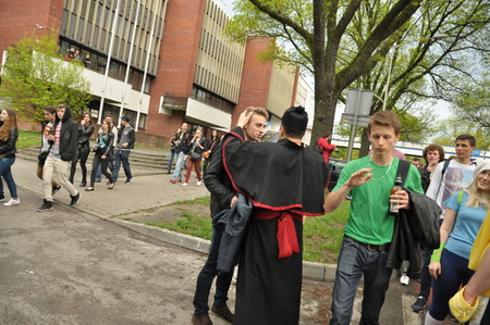 guise: This is a view of students pageant on the first day of students holiday in Lublin. May 6 2015. Lublin Poland. Editorial