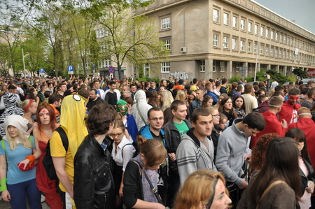 pageant: This is a view of students pageant on the first day of students holiday in Lublin. May 6 2015. Lublin Poland. Editorial