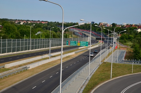 lublin: This is a view of S17 expressway in Lublin. July 12, 2015. Lublin, Poland.