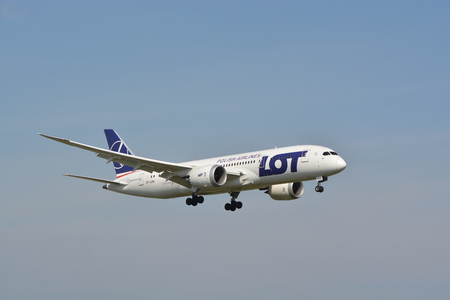 chopin: This is a view of LOT Polish Airlines Boeing 787-8 Dreamliner plane on the Warsaw Chopin Airport. September 16, 2015, Warsaw, Poland.
