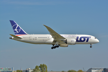 This is a view of LOT Polish Airlines Boeing 787-8 Dreamliner plane on the Warsaw Chopin Airport. September 16, 2015, Warsaw, Poland.