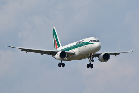 This is a view of the Al Italia plane Airbus A319 registered as EI-IMF on the Warsaw Chopin Airport. September 16, 2015, Warsaw, Poland. Editorial