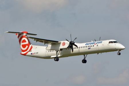 This is a view of the Eurolot plane Bombardier Dash 8 Q400 registered as SP-EQB on the Warsaw Chopin Airport. September 16, 2015, Warsaw, Poland.