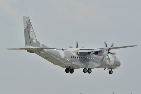 warsaw chopin: This is a view of the Polish Air Force plane Cassa C-295 registered as 020 on the Warsaw Chopin Airport. September 16, 2015, Warsaw, Poland.