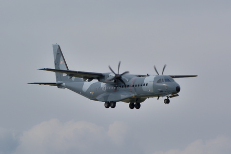 This is a view of the Polish Air Force plane Cassa C-295 registered as 020 on the Warsaw Chopin Airport. September 16, 2015, Warsaw, Poland.