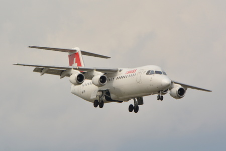 long haul journey: This is a view of Swiss Avro RJ100 plane registered as HB-IYR on the Warsaw Chopin Airport. September 16, 2015, Warsaw, Poland.