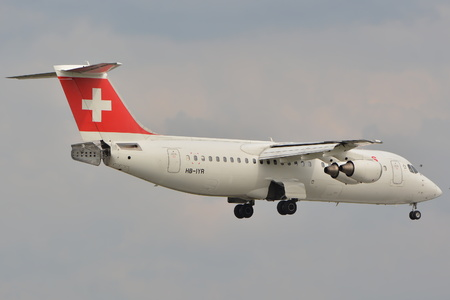 warsaw chopin: This is a view of Swiss Avro RJ100 plane registered as HB-IYR on the Warsaw Chopin Airport. September 16, 2015, Warsaw, Poland.