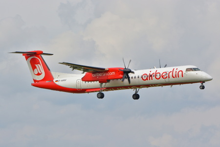 warsaw chopin: This is a view of Air Berlin plane Bombardier Dash 8 Q400 registered as D-ABQG on the Warsaw Chopin Airport. September 16, 2015, Warsaw, Poland.