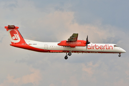 chopin: This is a view of Air Berlin plane Bombardier Dash 8 Q400 registered as D-ABQG on the Warsaw Chopin Airport. September 16, 2015, Warsaw, Poland.